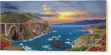 Wood Print featuring the photograph Bixby Creek Bridge by David Zanzinger