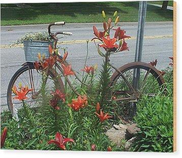 Biycle Flowers Wood Print
