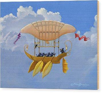 Bizarre Feline-powered Airship Wood Print by John Deecken