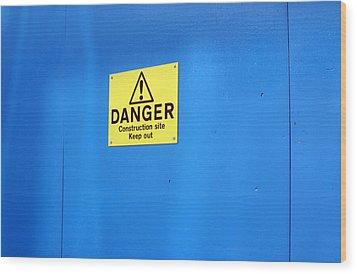Bkue Warning Wood Print by Jez C Self