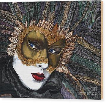 Black And Gold Carnival Mask Wood Print by Patty Vicknair