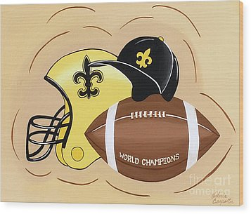 Black And Gold Champs Wood Print by Valerie Carpenter