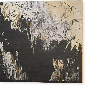 Black And Gold Wood Print