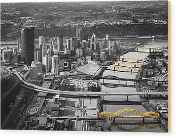 Black And Gold Pittsburgh  Wood Print
