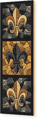 Black And Gold Triple Fleur De Lis Wood Print by Elaine Hodges