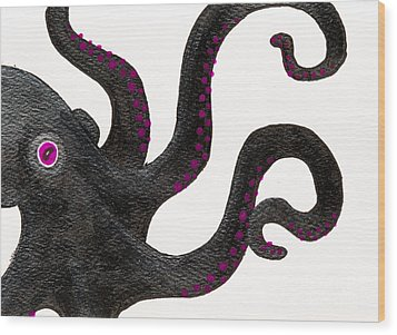 Black And Purple Octopus Wood Print