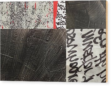 Wood Print featuring the painting Black And Red 3 by Nancy Merkle