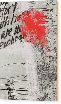 Wood Print featuring the painting Black And Red 4 by Nancy Merkle