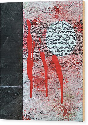 Wood Print featuring the painting Black And Red 8 by Nancy Merkle