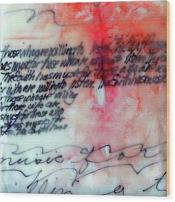 Wood Print featuring the painting Black And Red Encaustic 1 by Nancy Merkle