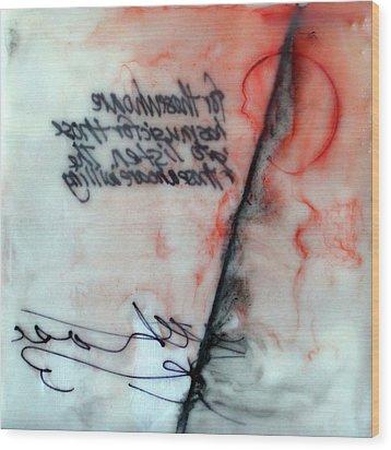 Wood Print featuring the painting Black And Red Encaustic 2 by Nancy Merkle