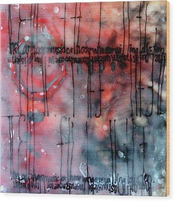 Wood Print featuring the painting Black And Red Encaustic 4 by Nancy Merkle