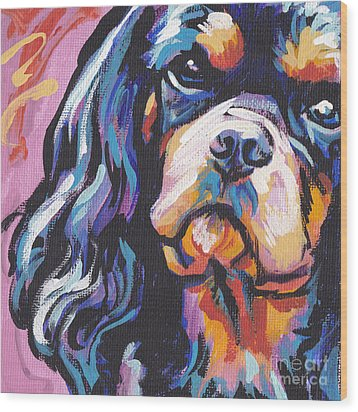 Black And Tan Cav Wood Print by Lea S