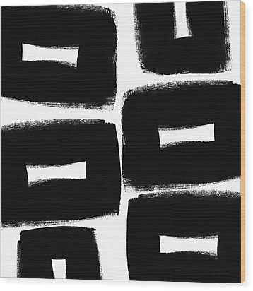 Black And White Abstract- Abstract Painting Wood Print by Linda Woods