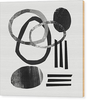 Black And White- Abstract Art Wood Print by Linda Woods