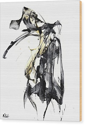 Black And White Abstract Expressionism Series 7344.072009 Wood Print by Kris Haas