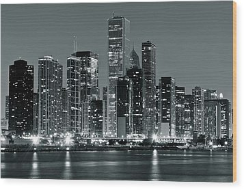 Wood Print featuring the photograph Black And White And Grey Chicago Night by Frozen in Time Fine Art Photography