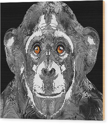 Black And White Art - Monkey Business 2 - By Sharon Cummings Wood Print