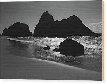 Black And White Big Sur Landscape Wood Print by Pierre Leclerc Photography