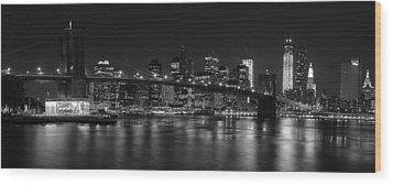 Black And White Brooklyn Bridge Wood Print