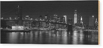Black And White Brooklyn Bridge Wood Print by Shane Psaltis
