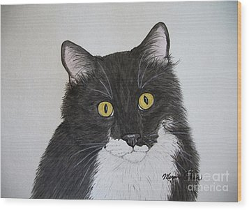 Black And White Cat Wood Print by Megan Cohen