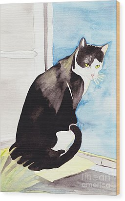 Black And White Cat Wood Print by Michaela Bautz