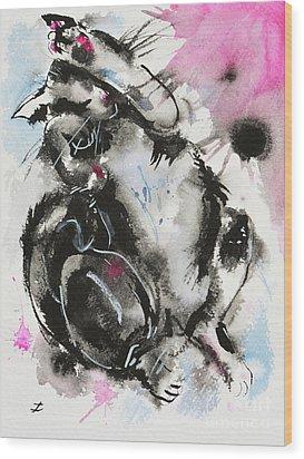 Wood Print featuring the painting Black And White Cat Sleeping by Zaira Dzhaubaeva