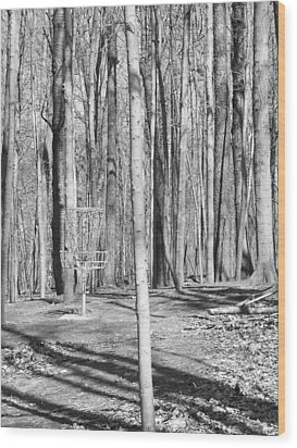 Black And White Disc Golf Basket Wood Print by Phil Perkins
