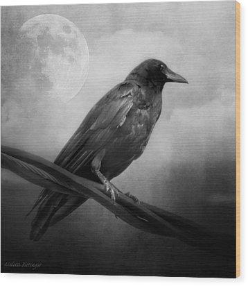 Black And White Gothic Crow Raven Art Wood Print