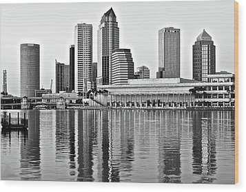 Black And White In The Heart Of Tampa Bay Wood Print