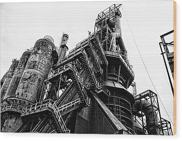 Black And White Industrial - Bethlehem Steel Wood Print by Bill Cannon