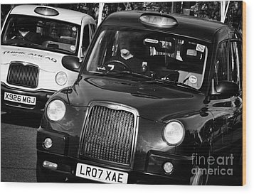 Black And White London Taxi Cabs Wood Print by Andy Smy
