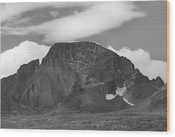 Wood Print featuring the photograph Black And White Longs Peak Detail by Dan Sproul