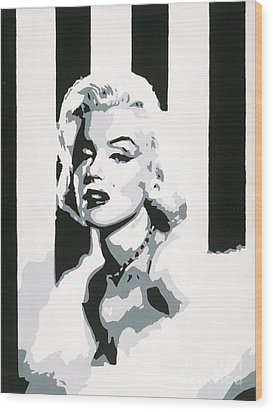 Wood Print featuring the painting Black And White Marilyn by Ashley Price