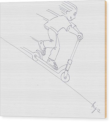 Black And White Micro Scooter Downhill Drawing Wood Print