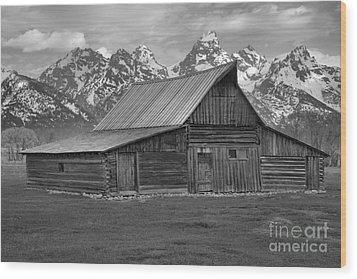 Black And White Mormon Row Barn Wood Print by Adam Jewell