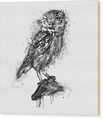 Wood Print featuring the mixed media Black And White Owl by Marian Voicu