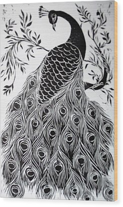 Black And White Peacock Wood Print