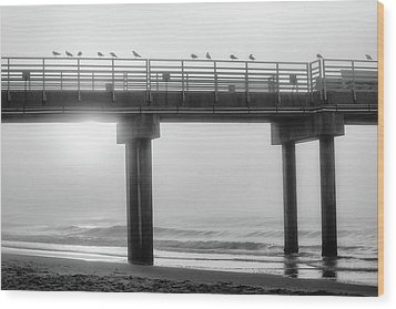 Wood Print featuring the photograph Black And White Pier Alabama  by John McGraw