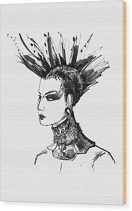 Wood Print featuring the digital art Black And White Punk Rock Girl by Marian Voicu