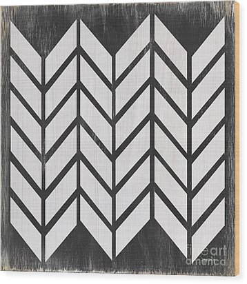 Wood Print featuring the painting Black And White Quilt by Debbie DeWitt