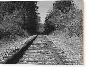 Black And White Railroad Wood Print by Michael Waters