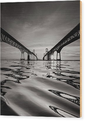 Black And White Reflections Wood Print by Jennifer Casey