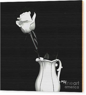 Wood Print featuring the photograph Black And White Rose Three by Marsha Heiken