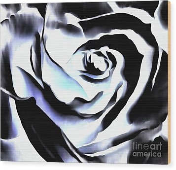 Wood Print featuring the photograph Black And White Rose - Till Eternity by Janine Riley