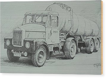 Wood Print featuring the drawing Black And White Scammell. by Mike Jeffries
