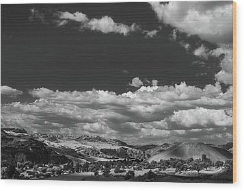 Black And White Small Town  Wood Print