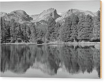 Wood Print featuring the photograph Black And White Sprague Lake Reflection by Dan Sproul