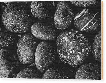 Black And White Stones One Wood Print by Kevin Blackburn